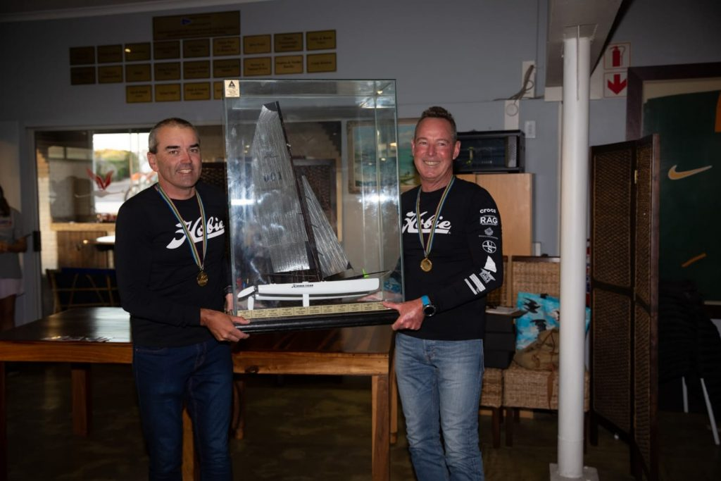 Andrew Ward and Blaine Dodds with the Hobie 18 Nationals trophy