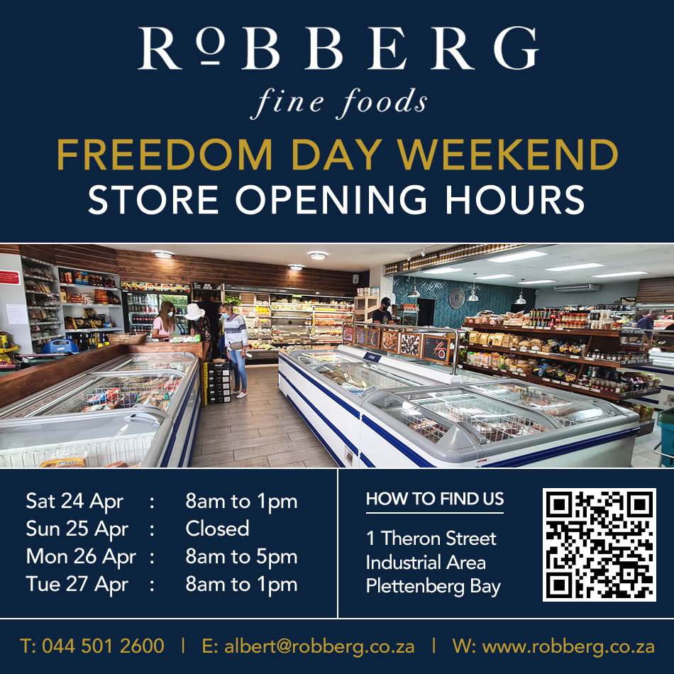 Robberg Store is open on Freedom Day public holiday Tuesday 27th April 2021